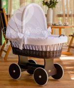 Culla di vimini SNUGLY - colore del legno Marrone - con set da letto