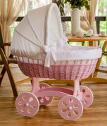 Baby Bassinet XXL HOME - Wood Colour Pink - Inclusive Bed Set White