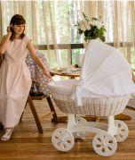 Culla di vimini XXL HOME - colore del legno Bianco - con set da letto